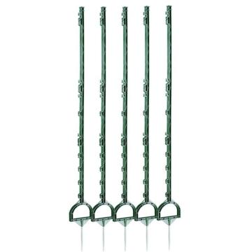 Kunststoffpfähle 160 cm, 5 Stück für Weidezaun, grün